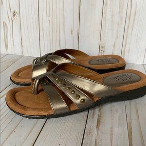 Metallic Life Stride Erica thong sandals pewter 10